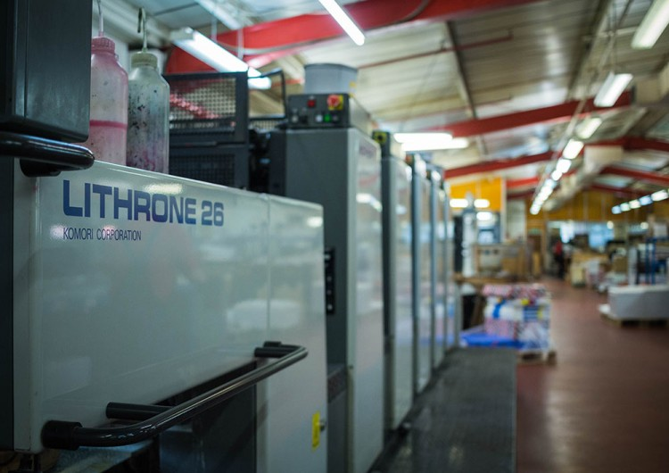 Image of a Komori Lithrone 26 printer in the Scarbutts workshop